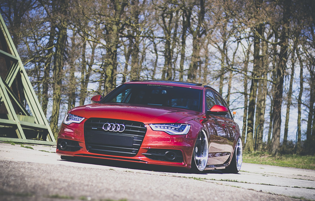 Photo wallpaper Audi, red, front, wagon, stance, before