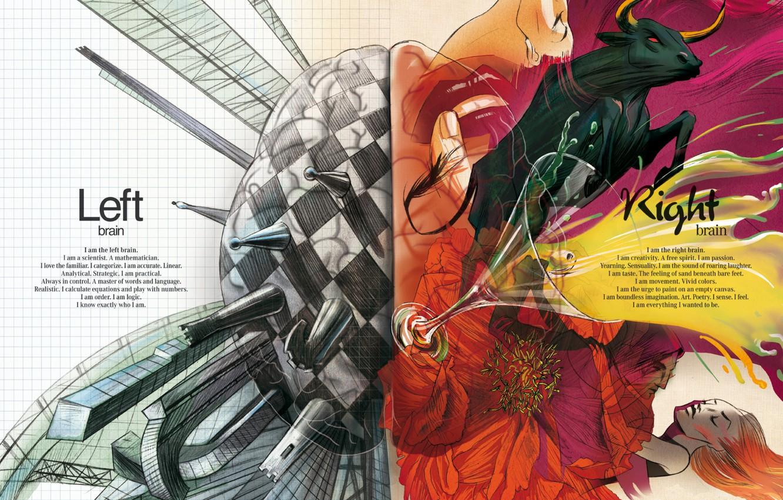 Photo wallpaper creative, brain, creativity, hemisphere, logic