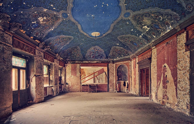 Photo wallpaper room, palace, abandoned, hall, salon, decay