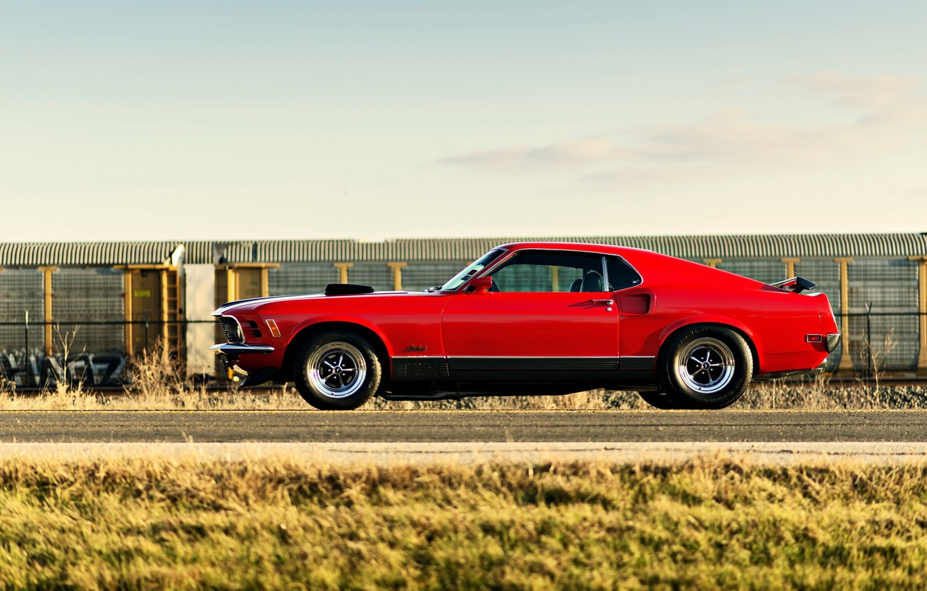 Photo wallpaper Mustang, red, Ford, ford mustang, muscle car, rechange, mach 1, lunchbox photoworks