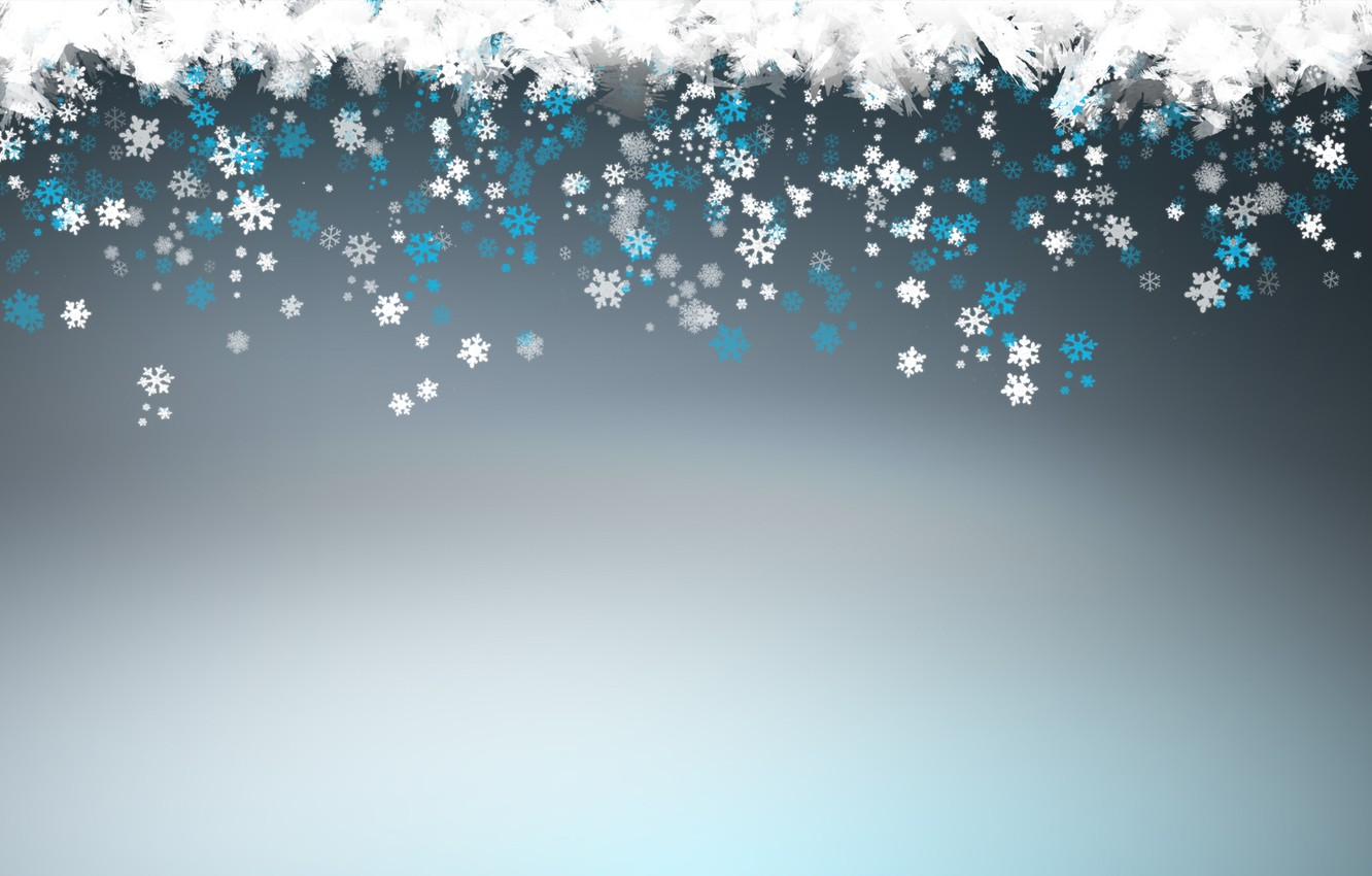 Photo wallpaper new year, blue, winter, snowflakes