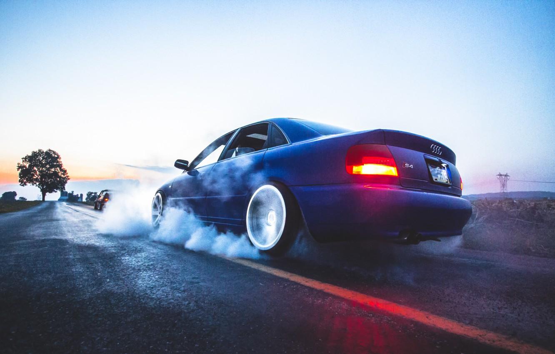 Photo wallpaper Audi, Audi, smoke, drift, blue, blue