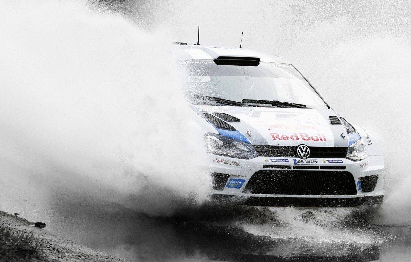 Photo wallpaper Water, Auto, White, Volkswagen, Speed, Puddle, Squirt, Red Bull, WRC, Rally, Polo, Ancestor
