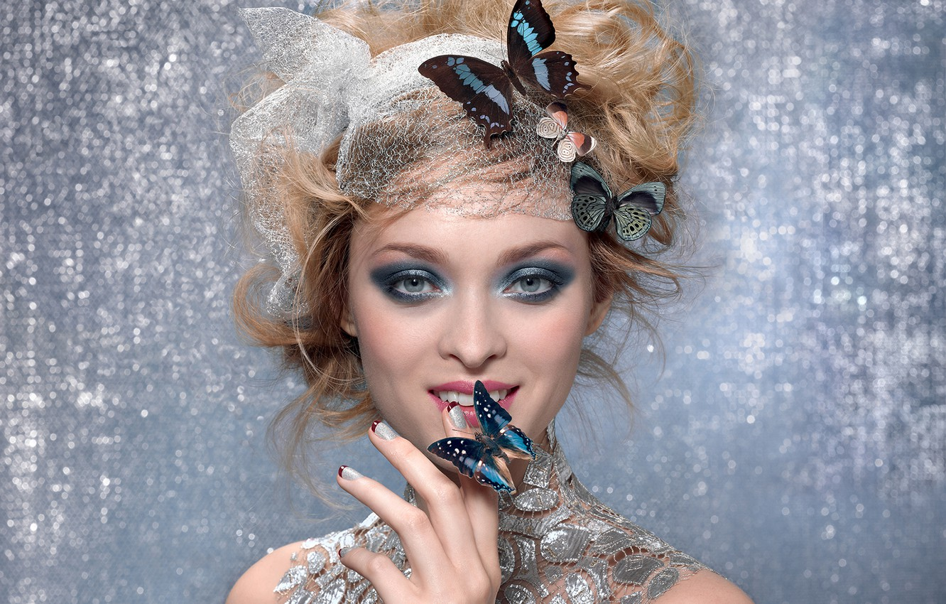 Photo wallpaper look, girl, smile, butterfly, makeup, blonde, shadows