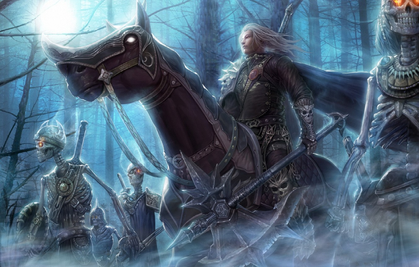 Wallpaper Forest Night Weapons Horse Art Rider Skeletons Undead Burning Eyes Images For Desktop Section Fantastika Download