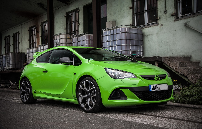 Photo wallpaper Opel, Green, Astra, Opc