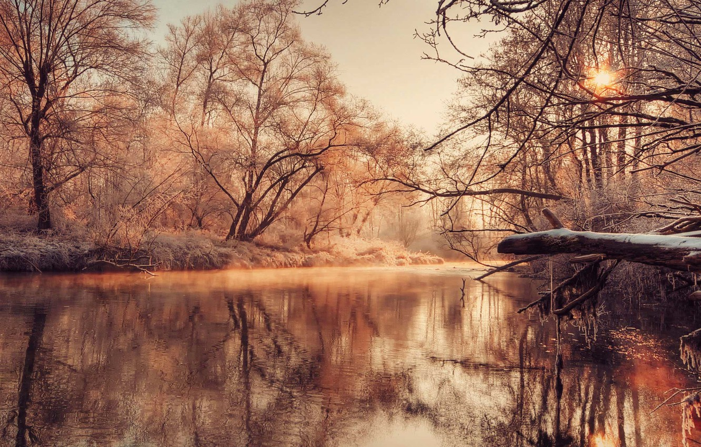 Photo wallpaper Nature, Wallpaper, River, Lake, Autumnal