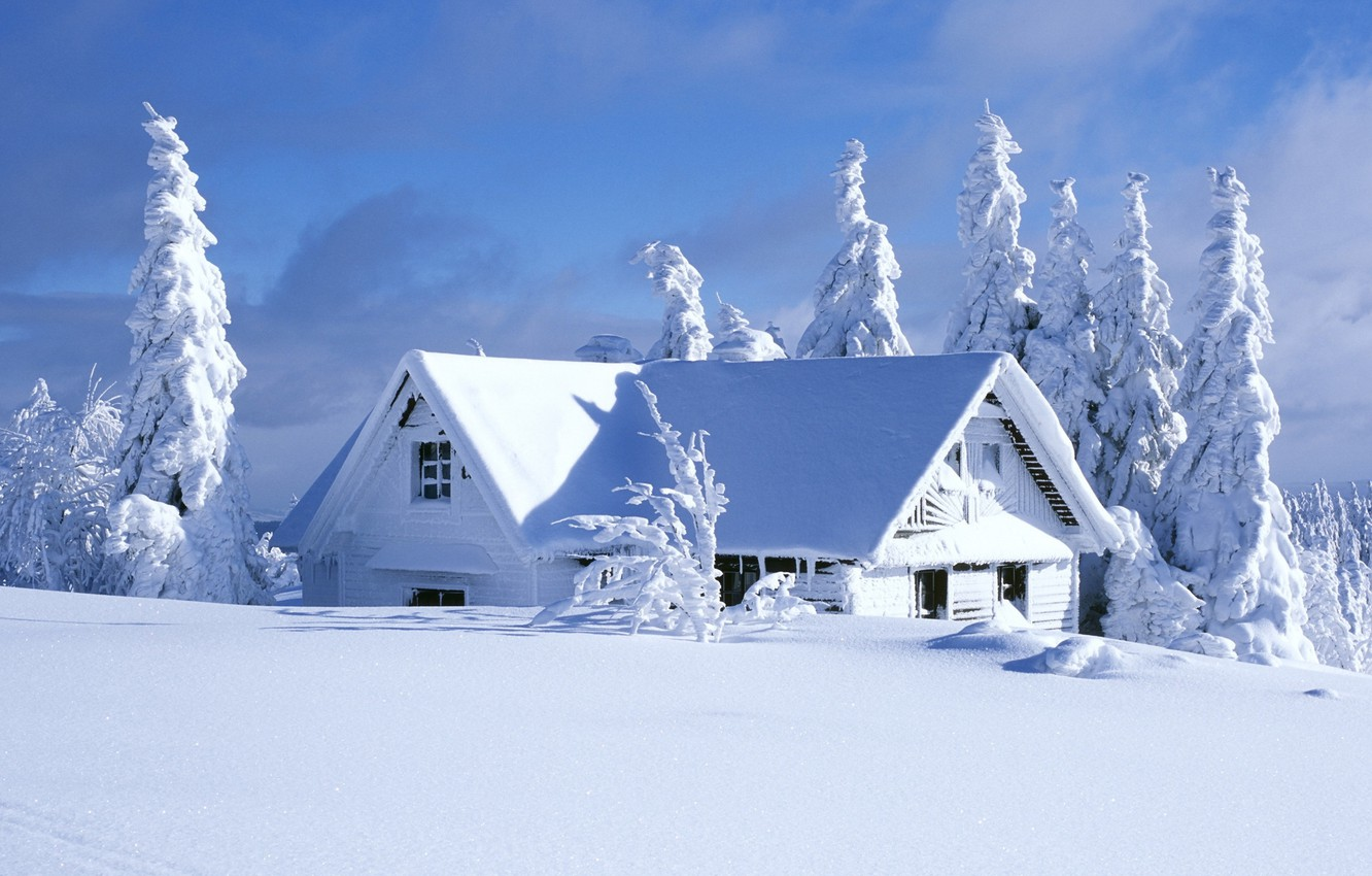 Photo wallpaper winter, the sky, clouds, snow, trees, landscape, nature, house, house, sky, trees, landscape, nature, winter, …