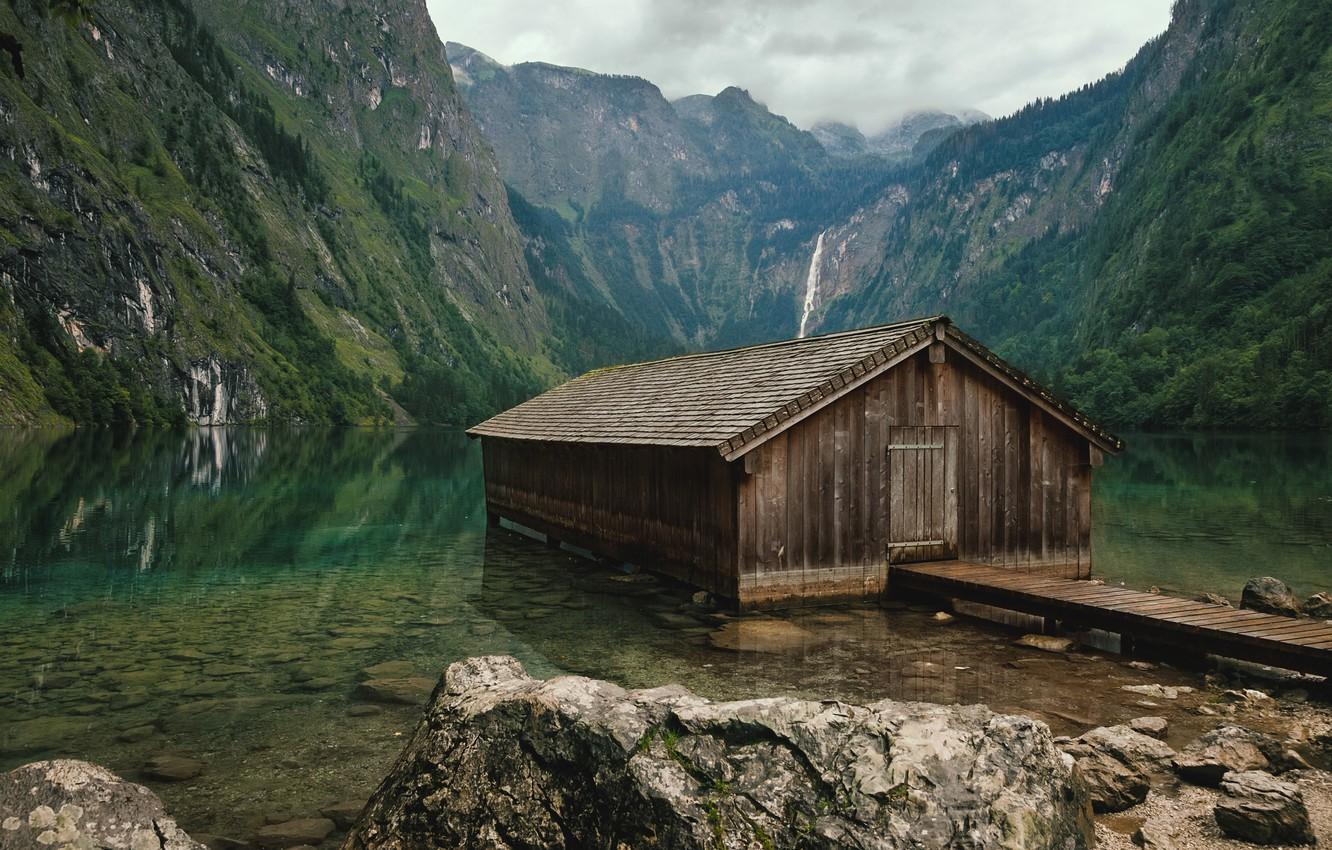 Photo wallpaper forest, mountains, lake, stones, Germany, Bayern, house, Lake Obersee