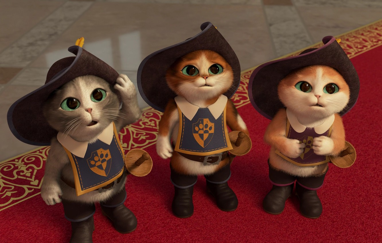 Photo wallpaper cats, cartoon, tale, boots, kittens, green eyes, hats, cats, kittens, short film, swords, the Musketeers, …