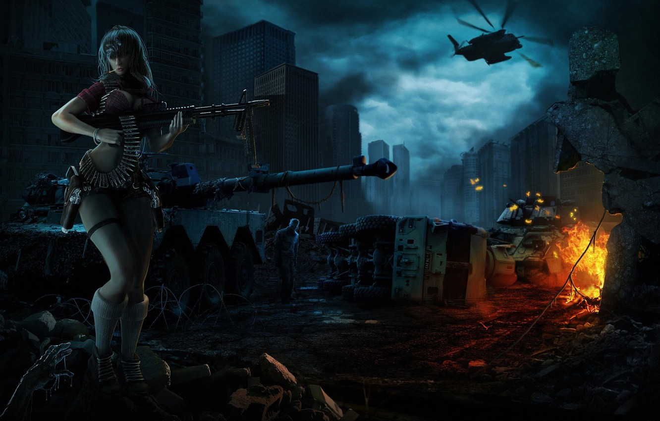 Photo wallpaper girl, machine, night, the city, weapons, fire, art, zombies, helicopter