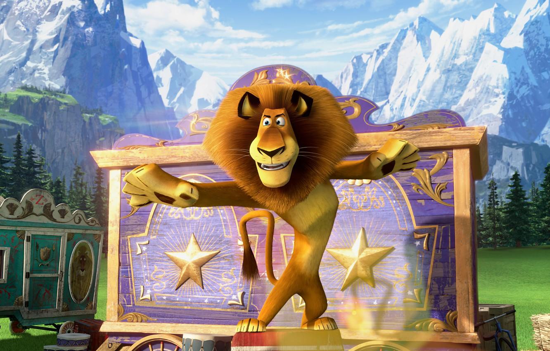 Photo wallpaper cartoon, Leo, Madagascar 3, Alex