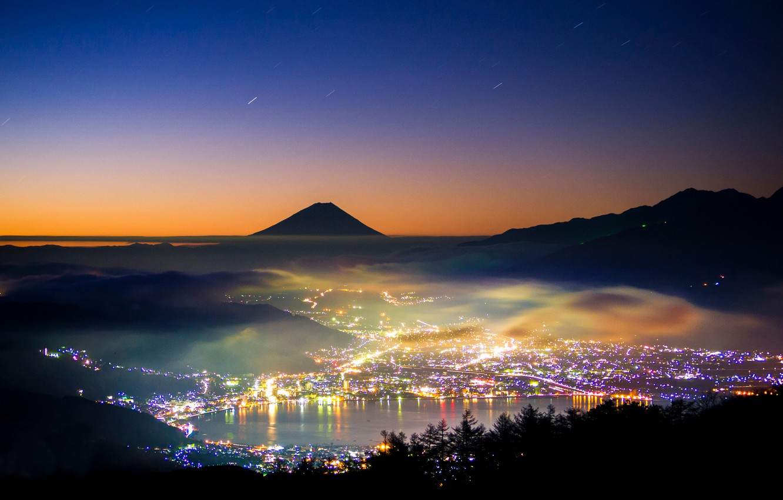 Photo wallpaper night, lights, mountain, the evening, Japan, Fuji, stratovolcano, Mount Fuji, the island of Honshu