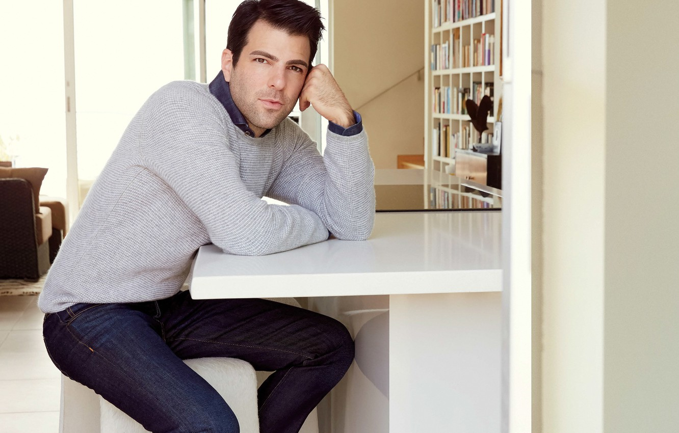 Photo wallpaper jeans, actor, journal, sitting, photoshoot, Zachary Quinto, Zachary Quinto, jumper, at the table, Robert Ascroft, …