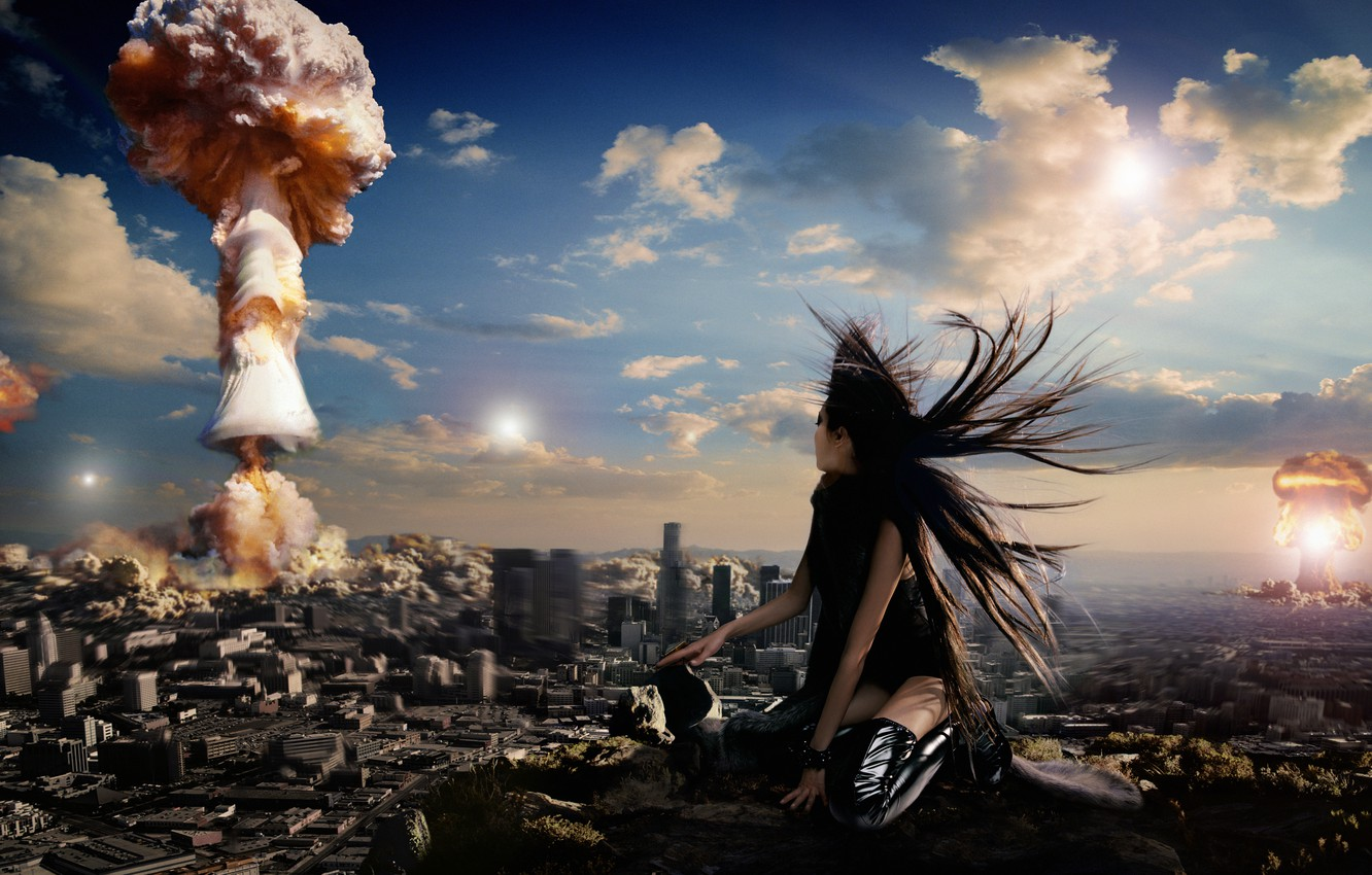 Photo wallpaper the city, situation, girls, atomic explosion