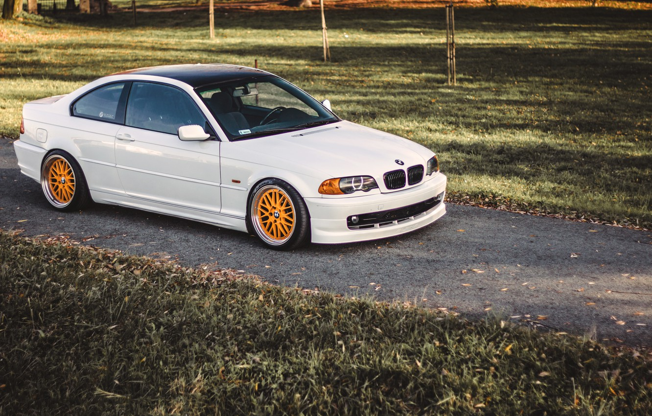 Photo wallpaper BMW, Tuning, White, BMW, Lights, COUPE, White, E46, Coupe, Stance, 323ci