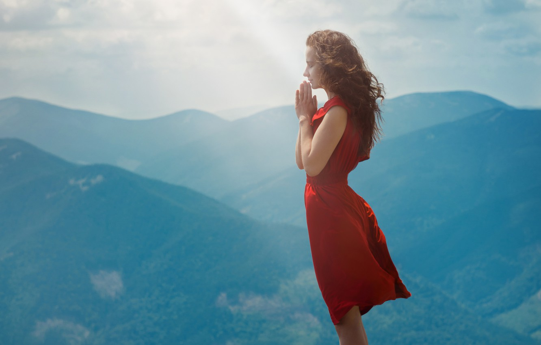 Photo wallpaper girl, mountains, nature, red dress, long hair, prayer