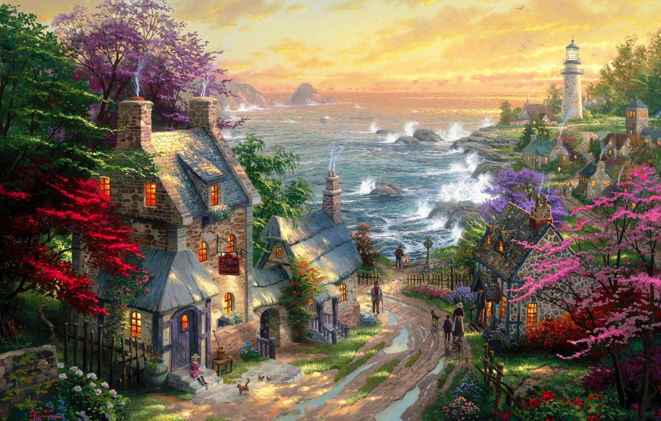 Photo wallpaper road, sea, lighthouse, home, village, puddles, painting, Thomas Kinkade, cottages, The Village Lighthouse