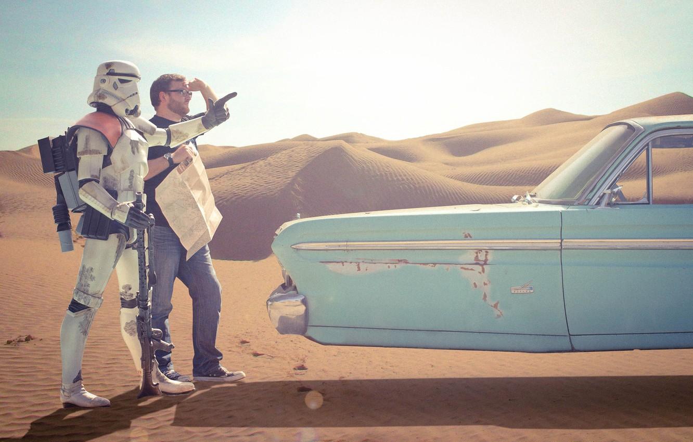 Photo wallpaper desert, man, Star Wars, clone, Star wars