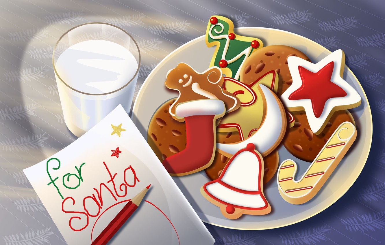 Photo wallpaper letter, glass, toys, star, new year, milk, gifts, sweets, Christmas, holidays, new Year