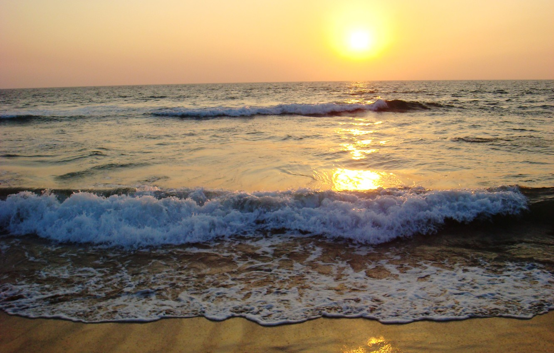 Photo wallpaper sea, wave, foam, the sun, sunset, nature, shore