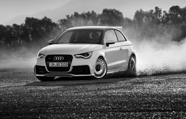 Photo wallpaper Audi, Audi, Skid, Black and white, quattro
