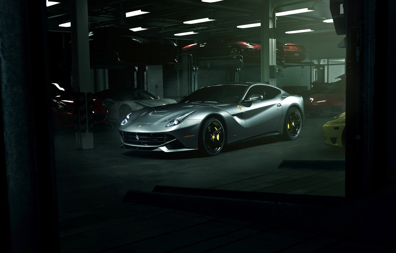 Photo wallpaper supercar, ferrari, garage, f12, f12berlinetta