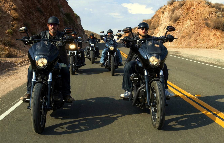 Photo wallpaper road, bikers, Moto, sons of anarchy, SOA
