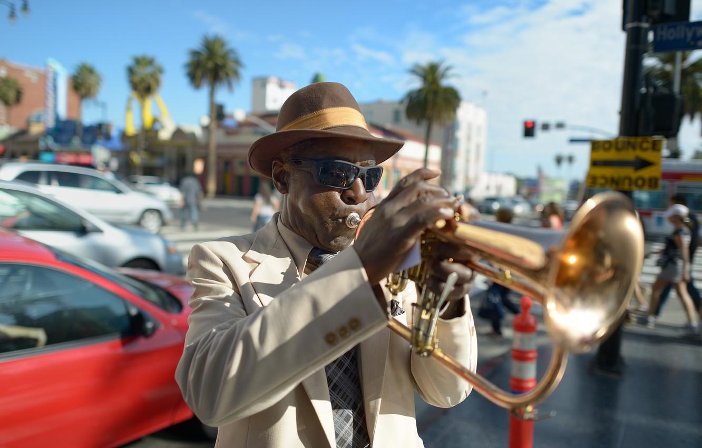 Photo wallpaper style, music, street, hat, jazz, glasses, male, dark, jazz, artist