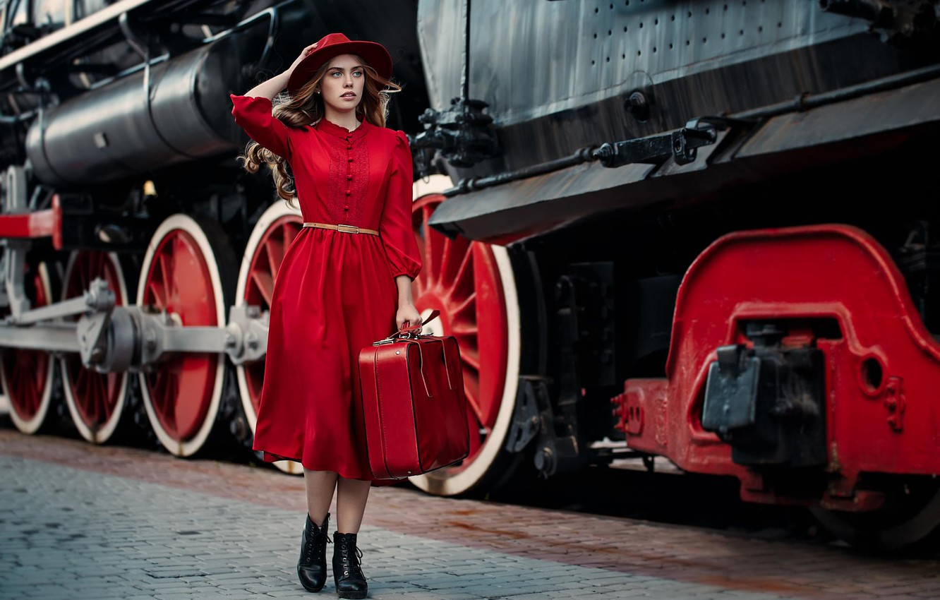 Photo wallpaper girl, style, model, the engine, the situation, the platform, suitcase, hat, red dress, Alina Tours