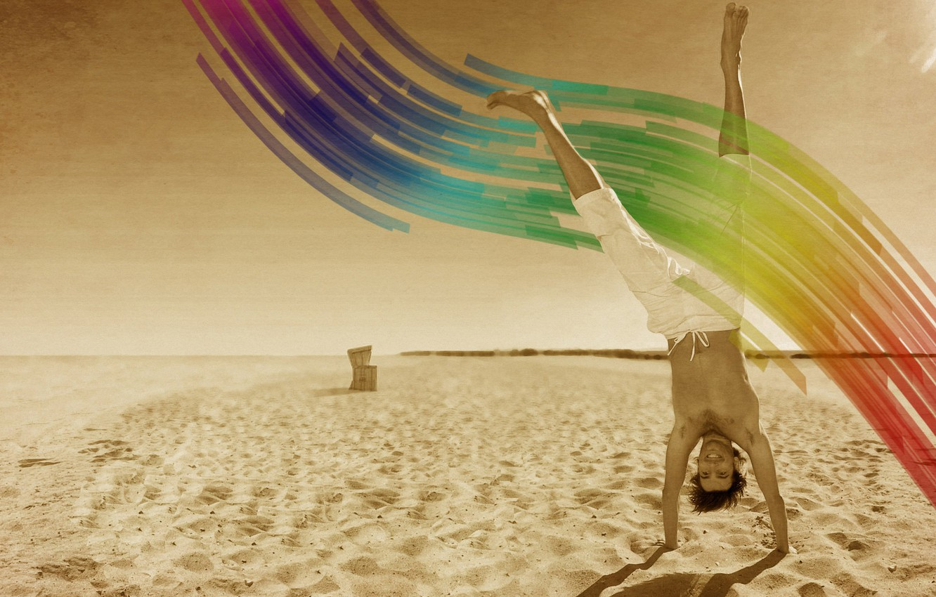 Photo wallpaper Beach, Positive, Smile, Wave, Color, Male
