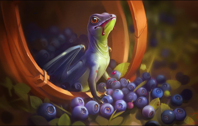 Photo wallpaper berries, fantasy, dragon, art, dragon, Alexander Khitrov, GaudiBuendia