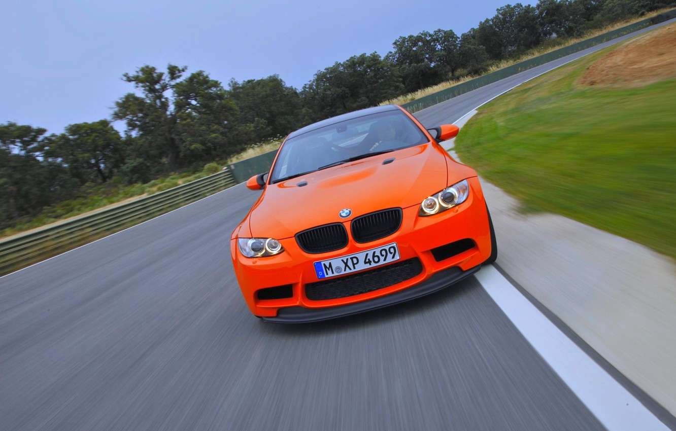 Photo wallpaper Road, BMW, grille, Machine, BMW, Orange, GTS, The front, In Motion
