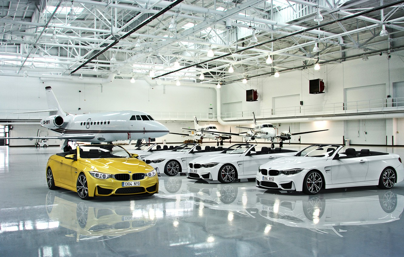 Wallpaper Bmw Cars White Yellow Cabrio Hangar Plane Images For