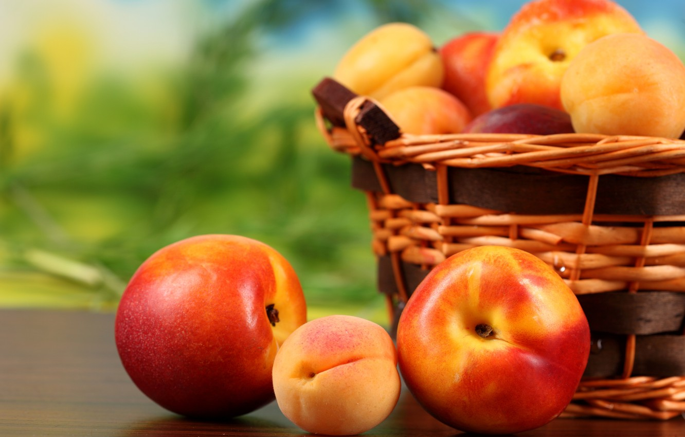 Photo wallpaper basket, fruit, peaches, fruit, apricots, nectarine, peaches, apricots