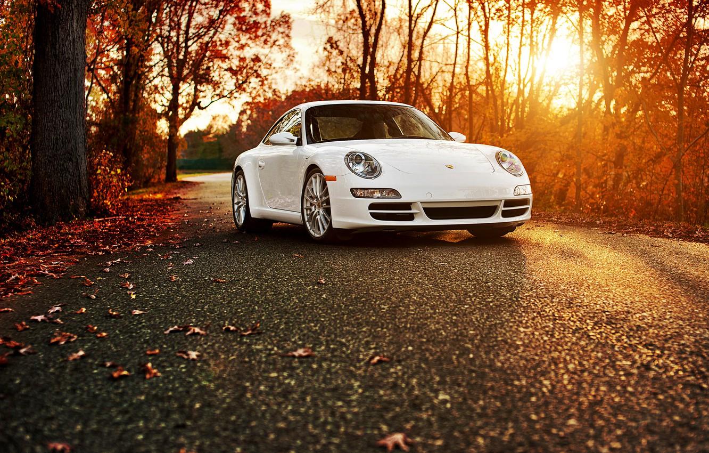 Photo wallpaper autumn, white, 911, Porsche, Porsche 911 Carrera S