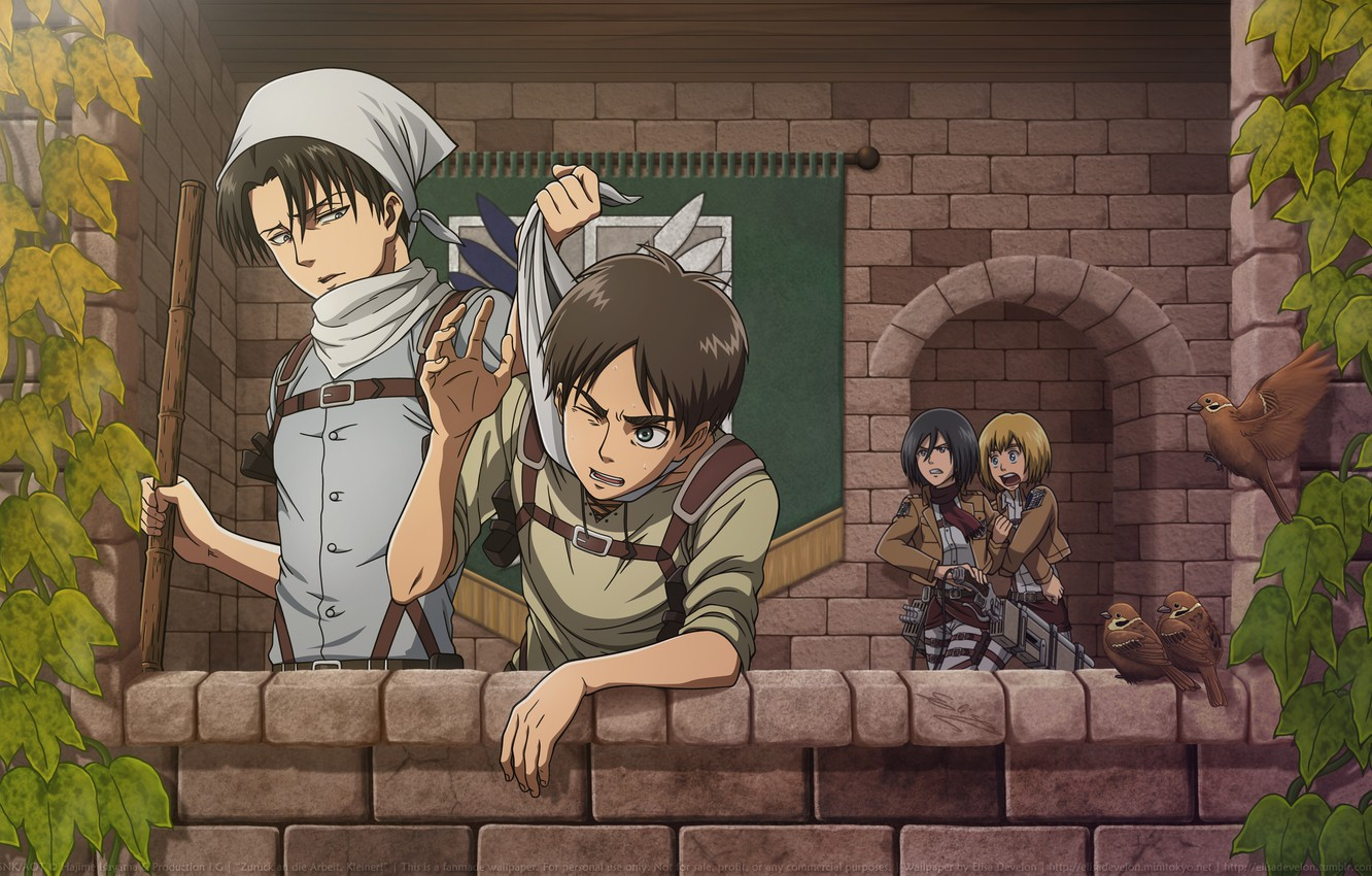 Wallpaper Emotions Balcony Shawl Art Military Uniform Sparrows Ivy Straps Fight Shingeki No Kyojin Mikasa Ackerman Levi Eren Yeager Armin Arlert The Invasion Of The Giants Hajime Isayama Images For Desktop Section
