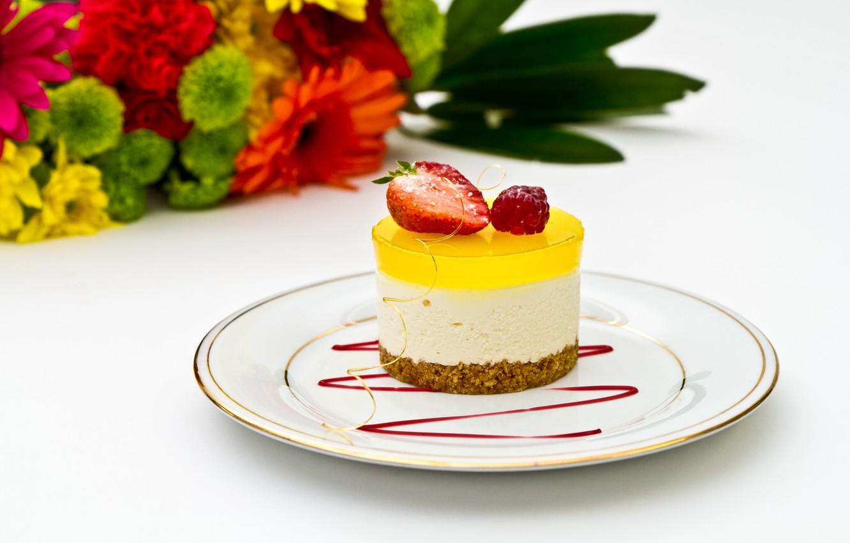 Photo wallpaper flowers, berries, food, strawberry, dessert, food, flowers, sweet, sweet, dessert, berries, strawberries