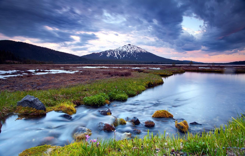 Photo wallpaper landscape, sunset, mountains, nature, river