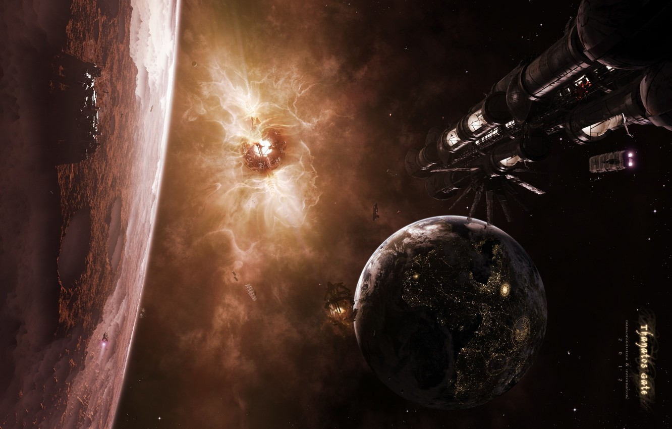 Photo wallpaper surface, planet, satellite, craters, spaceships