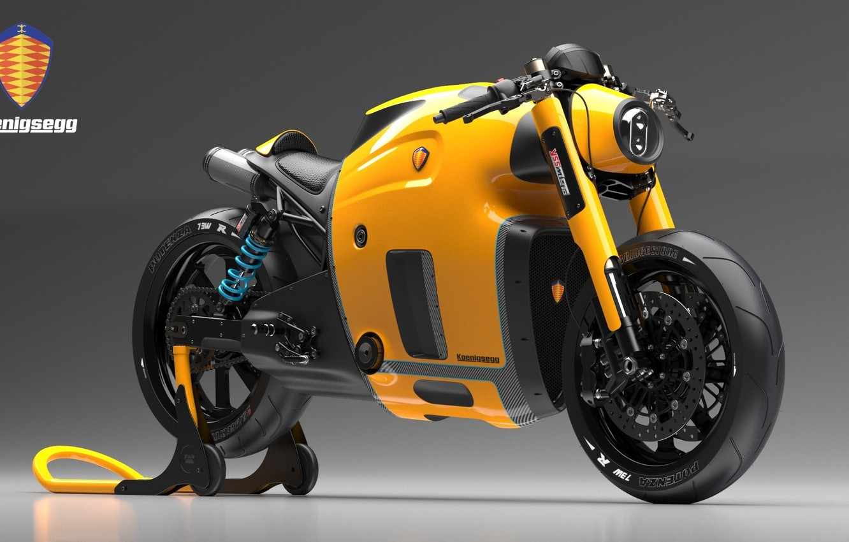 Photo wallpaper Concept, Koenigsegg, Yellow, Bike, Wheels, Brake