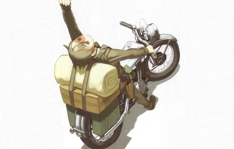 Photo wallpaper gun, box, shadow, motorcycle, gesture, art, mattress, holster, kino no tabi, kouhaku kuroboshi, kino, journey …