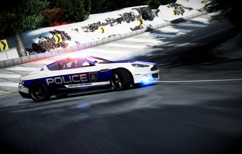 Photo wallpaper Aston Martin, Winter, DBS, Speed, Police, Skid, UK, Police, Photoshop, Aston Martin, Forza 4, Strobe …