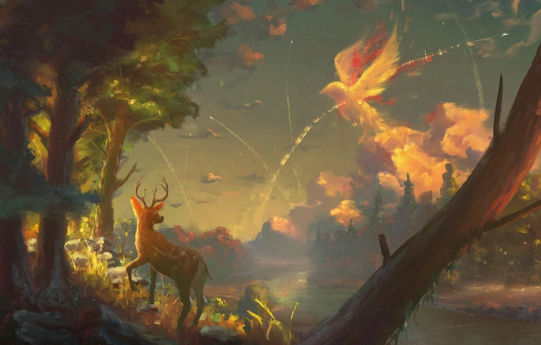 Photo wallpaper forest, the sky, clouds, tree, bird, deer, art, fawn