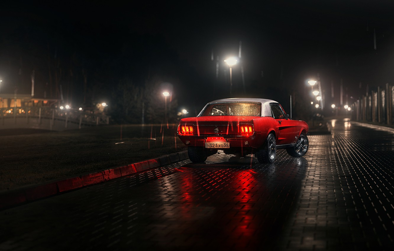 Photo wallpaper white, red, reflection, rain, lamp, Mustang, Ford, back, Parking, 1967, rear, lampposts