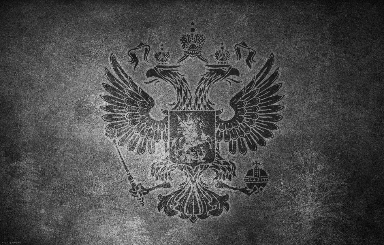 Photo wallpaper surface, wall, b/W, coat of arms, Russia, double-headed eagle