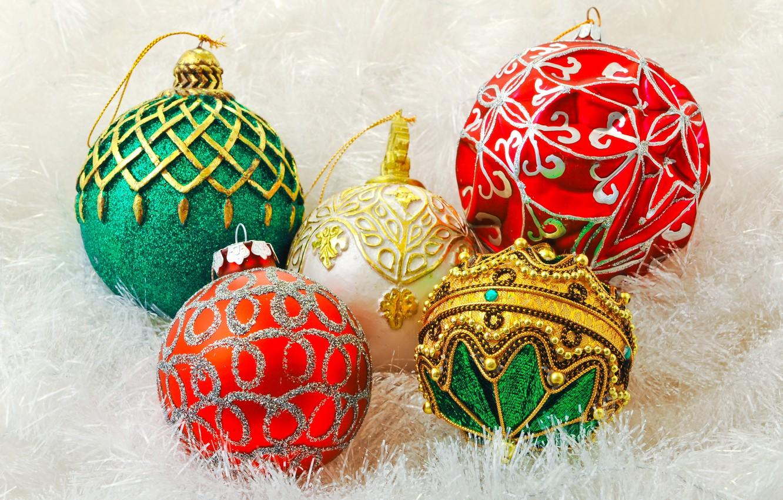 Wallpaper Decoration Holiday Balls Toys New Year Green