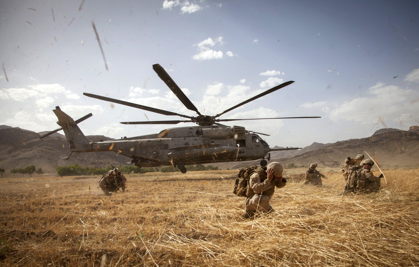 Photo wallpaper field, mountains, the wind, soldiers, Afghanistan, Helicopter