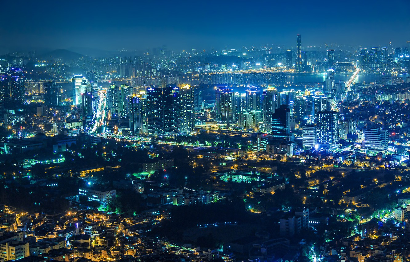 Wallpaper Night The City Lights View Home Panorama