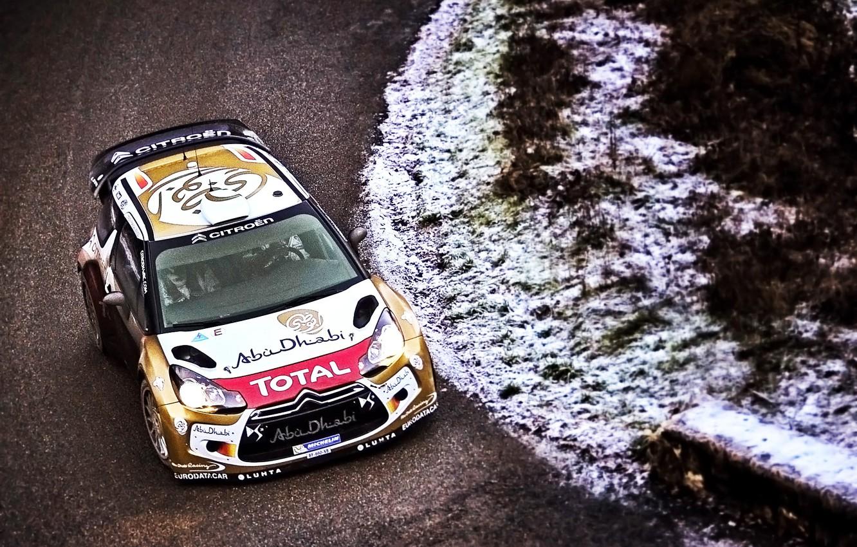 Photo wallpaper Winter, Road, Sport, Machine, Speed, Citroen, Citroen, DS3, WRC, Rally, Rally, Cold